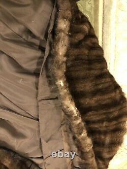 Zandra Rhodes Vison Brun À Manches Longues MI Manteau De Fourrure De Veau Sz L