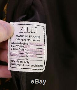 Zilli Brown Récent 100% Cachemire Avec Le Real Col De Fourrure Longueur Pleine Pardessus 42 / L